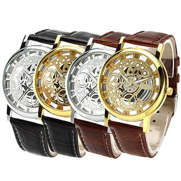 Men's Women's Fashion  Roman Numeral Dial Leather Band Skeleton Analog Sport Casual Wrist Watch = 1932502404