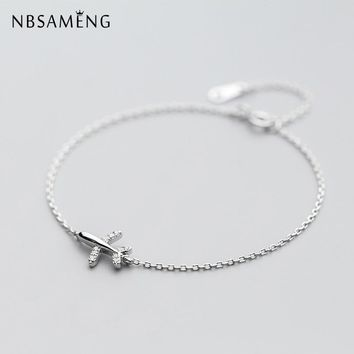 NBSAMENG 925 Sterling Silver Bracelet Crystal Aircraft airplane Plane Bracelets & Bangles Adjustable For Women Gift Jewelry