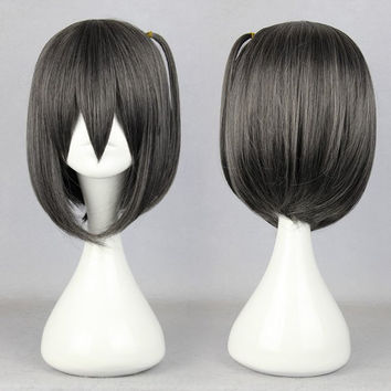 """Cosplay anime The """"HENTAI"""" prince and the stony cat.-tsutsukakushi_tsukiko black short cosplay wig,Colorful Candy Colored synthetic Hair Extension Hair piece 1pcs WIG-354A"""