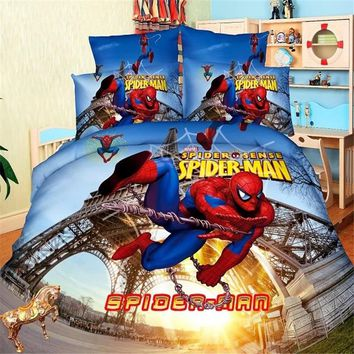 spiderman boys bedding set duvet cover bed sheet pillow cases single size