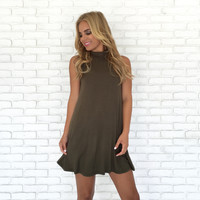 Take Charge Tunic Dress in Olive