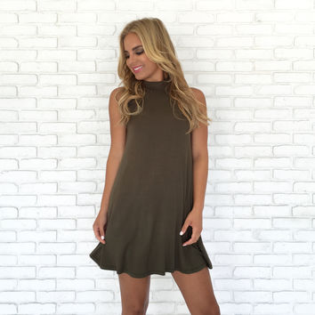 Take Charge Jersey Dress In Olive