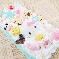 Mint Blue iPhone 4/4S Case Pastel Decoden Phone Case with Sweets Cabochon Heart Rhinestones and Faux Pearl Flatbacks Hello Kitty