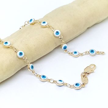 "1-0446-h2 Gold Filled Evil Eye Bracelet, 7-1/2""."