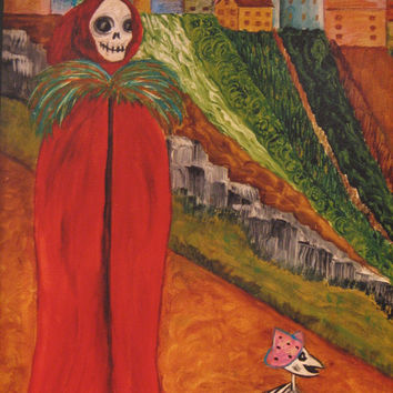 A walk to Carnival Print from Original painting by Dona Silver.  Day of the Dead.  Skull, Dog. Mexican.