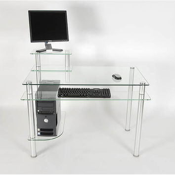 """Clear Glass and Aluminum Computer Desk (Glass and Aluminum) (29.25""""H x 42.5""""W x 24""""D)"""