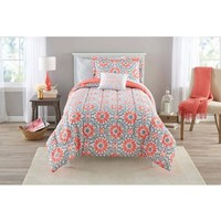 Mainstays Coral Medallion Bed in a Bag Complete Bedding Set - Walmart.com