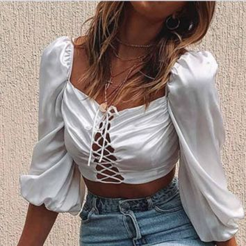 New hot - selling breast - wrap tie with crop - revealing cross - collar sexy shirt