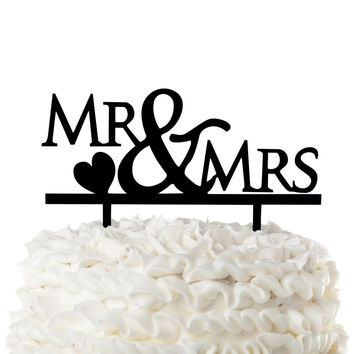 Mr & Mrs Wedding Cake Topper - Heart