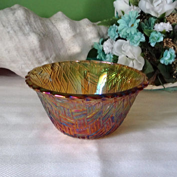 Gold Carnival glass Small Bowl, Vintage carnival glass, candle holder, change holder, 1960s