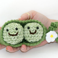 Peas in a pod flower green, yellow and white. Mother's day, baby shower, child toy 3 piece set