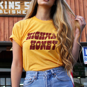 Highway Honey- 70s inspired- gold- women's graphic tee- 1970's- road trip- biker tee- women vintage tee- 70s 80s- made in usa-