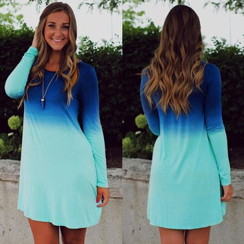 Women's Casual Dip Dye Long Sleeve Loose Short Dress Long T shirt Mini Dress