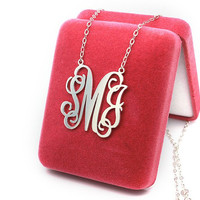 Exquisite monogram necklace 925 sterling silver -- name pendant monogram necklace customized
