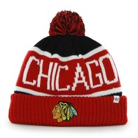 '47 Brand Chicago Blackhawks Calgary Cuffed Knit Beanie with Pom - Red