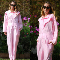 80's Vintage Jumpsuit, Baby Pink Coveralls, Floral Embroidered Long sleeve Batwing Jumpsuit Women's Med Lrg, 90's Soft Grunge Playsuit