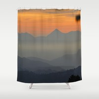"""Sunset at the mountains II"" Shower Curtain by Guido Montañés"