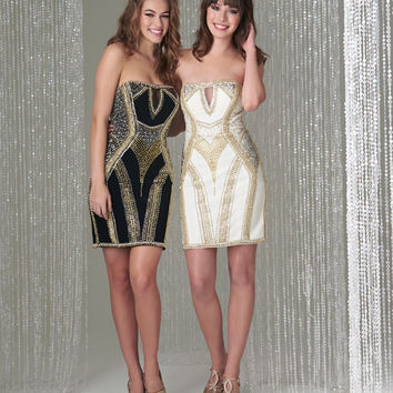 Madison James 16-390 Beaded Metal Stud Cocktail Dress