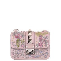 Lock embroidered leather bag