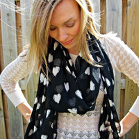 Heart print Chiffon Scarf, Extra Long scarf, Black and White Hipster fashion scarf