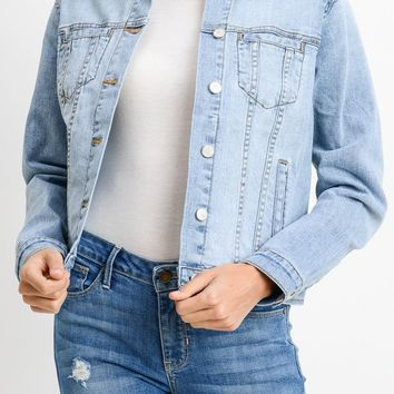 Patch Pocket Denim Jacket in Light Blue