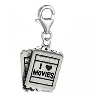 """ Clip on I Love Movies Charm ""Dangle Charm Pendant for European Clip on Charm Jewelry w/ Lobster Clasp"