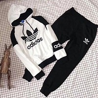 ADIDAS Top Sweater Hoodie Pants Trousers Set Two-Piece Sportswear White