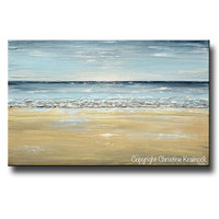 GICLEE PRINT Art Abstract Seascape Painting Beach Ocean Blue Beige White LARGE Canvas Coastal Decor