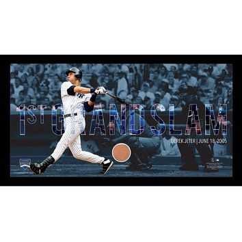 Steiner Sports New York Yankees Derek Jeter Moments First Career Grand Slam Framed 10'' x 20'' Photo with Authentic Field Dirt (Ynk Team)