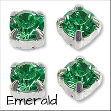 BULK GREEN SELECTION Pack of 1440 Rhinestone/Diamante/Crystal Sew On Round (4mm) - Accessories, Cakes, Bouquets, Jewellery, Costume!
