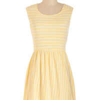 ModCloth Short Sleeveless A-line Stripes of Sunshine Dress