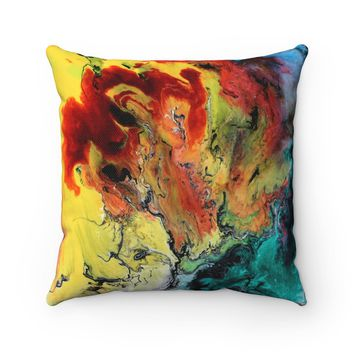 Multi Color Polyester Square Pillow