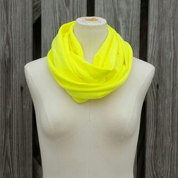 """Neon Yellow Infinity Scarf - The """"Petite"""" All Season Circle Scarf - Neon Yellow - Great Size for Adults and Kids"""