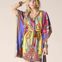 BOHO INDIE VINTAGE Y 70'S BELTED PAISLEY PRINTED DRESS BEACH CRUISE RESORT READY