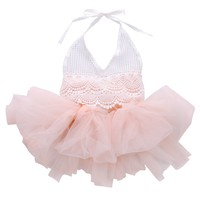 High Quality 2016 Princess Baby Girl Dress White Lace Belt Pink Tulle Bodysuit Romper Princess Dresses Jumpsuit Outfits