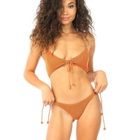 Lolli Swim Patti Knit Bikini Top- Rusty