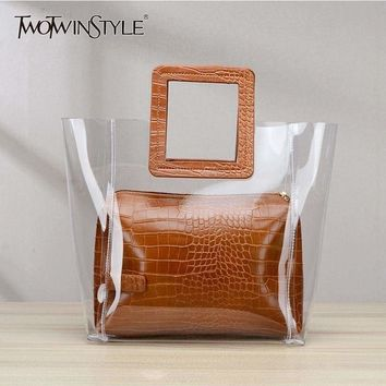 Transparent and Leather Woman Tote Bag