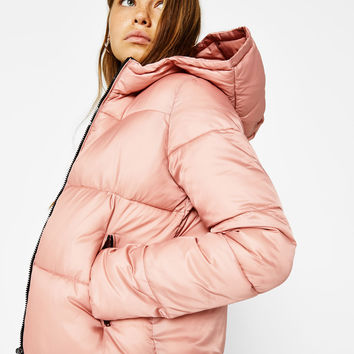 Puffy jacket with hood - Coats - Bershka United Kingdom