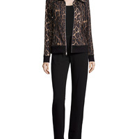 Plush Animal-Print Jacket & Pant Set, Size: