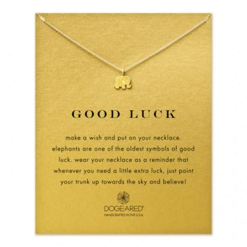 "dogeared 'reminder good luck elephant necklace', 16"" gold dipped"