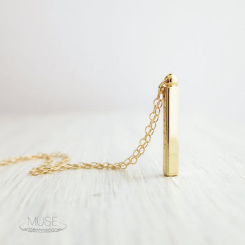 Vertical Bar Necklace - 14k Gold Filled Necklace, Dainty Gold Necklace, Petite Gold Bar, Simple Geometric Necklace, Minimalist Jewelry