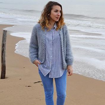 Sweater Knit Tops Sea Lights Jacket [22426189850]
