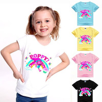 2-8Years trolls poppy clothes girls t-shirt short sleeves kids boys clothing 100% cotton lovely christmas tshirts kids MS1126