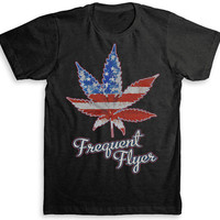 Marijuana Leaf - Frequent Flyer T Shirt - Tri-Blend Vintage Fashion - Graphic Tees for Men & Women