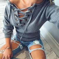 Grey Lace Up Drawstring V-neck Casual Acrylic Pullover Jumper Sweater