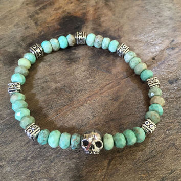 Boho Skull Bracelet, Opal Gemstone Bracelet, Bohemian Stacking Bracelet, Beaded Jewelry by Two Silver Sisters