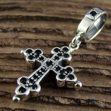 Mens Womens Sterling Silver 925 Classic Cross Onyx Pendant Retro for Chain Necklace Charm P256
