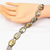 Vintage Persian Story Bracelet, Sterling Silver, Mother of Pearl