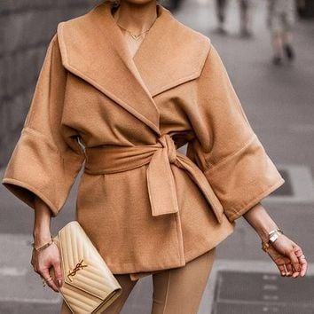 Anywhere And Everywhere Brown Wide 3/4 Sleeve Big Lapel Wrap Coat Outerwear