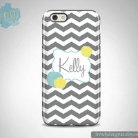 Personalized iPhone case, iPhone 6 case iPhone 5 5C case Monogram Case Samsung S6 Edge S5 S4 case, Gray Chevron Yellow Blue Flowers (13)